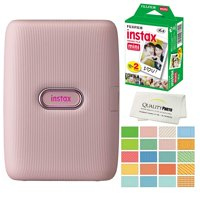 Fujifilm Instax Mini Link Smartphone Printer -WHITE- Plus Fujifilm Instax Mini Films 20 Pack. Plus Instax Mini Photo album, Stickers and Bonus All-Purpose Microfiber Cloth
