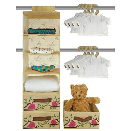 Nursery Closet Storage Organizer 20 Piece Set - Baby Closet Organization System - Hanging Storage for Nursery Essentials - Includes Collapsible storage Bins Hanging Shelf Mounting Studs