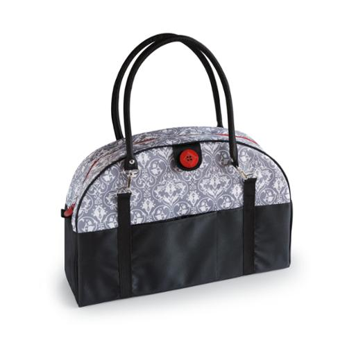 2 Red Hens Coop Carry-all Diaper Bag in Grey Damask