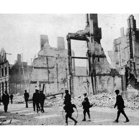 Easter Rebellion 1916 Nruins On The South Bank Of The Liffey River Dublin In The Aftermath Of The April 1916 Uprising Rolled Canvas Art     24 X 36