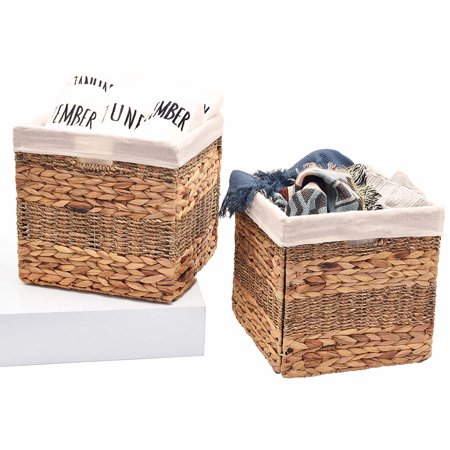 Hyacinth Pack - StorageWorks Hyacinth and Seagrass Basket with Linen Lining, Hand-Woven, Foldable Storage Baskets with Iron Wire Frame, 12.2
