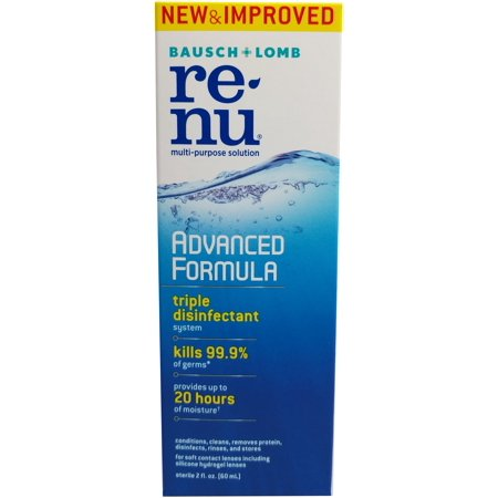 Renu advanced formula multi-purpose solution 2 fl oz ReNu Advanced Formula Multi-Purpose Solution is a contact solution that maintains clean and clear contacts with every use. Sterilize and disinfect soft lenses, and remove protein build up. This solution is made to rinse away and dirt and debris and is ideal for storing and keeping contacts intact.
