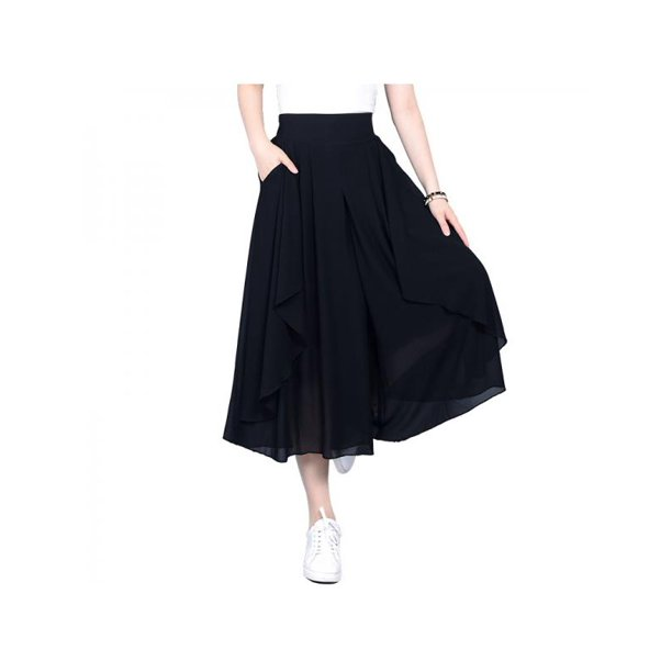 Topumt Women solid high waist culottes Summer Wide Leg Pants