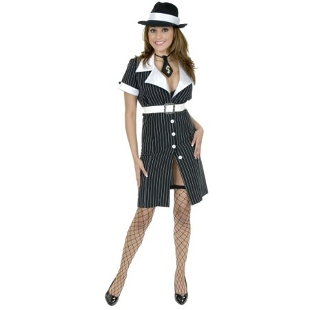 Sexy Adult Womens Halloween Costumes Gangster Mafia Mob Moll Dress for $<!---->