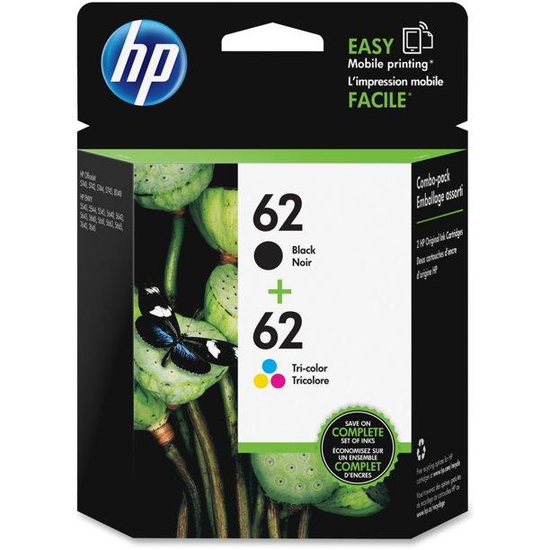 HP 62 Black & Tri-Color Original Ink Cartridges, 2-Pack (N9H64FN)