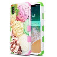 Apple iPhone Xs Max (6.5 in) Phone Case Tuff Hybrid Shockproof Impact Rubber Dual Layer Soft Protective Hard Case Cover Ice Cream Phone Case for Apple iPhone Xs Max