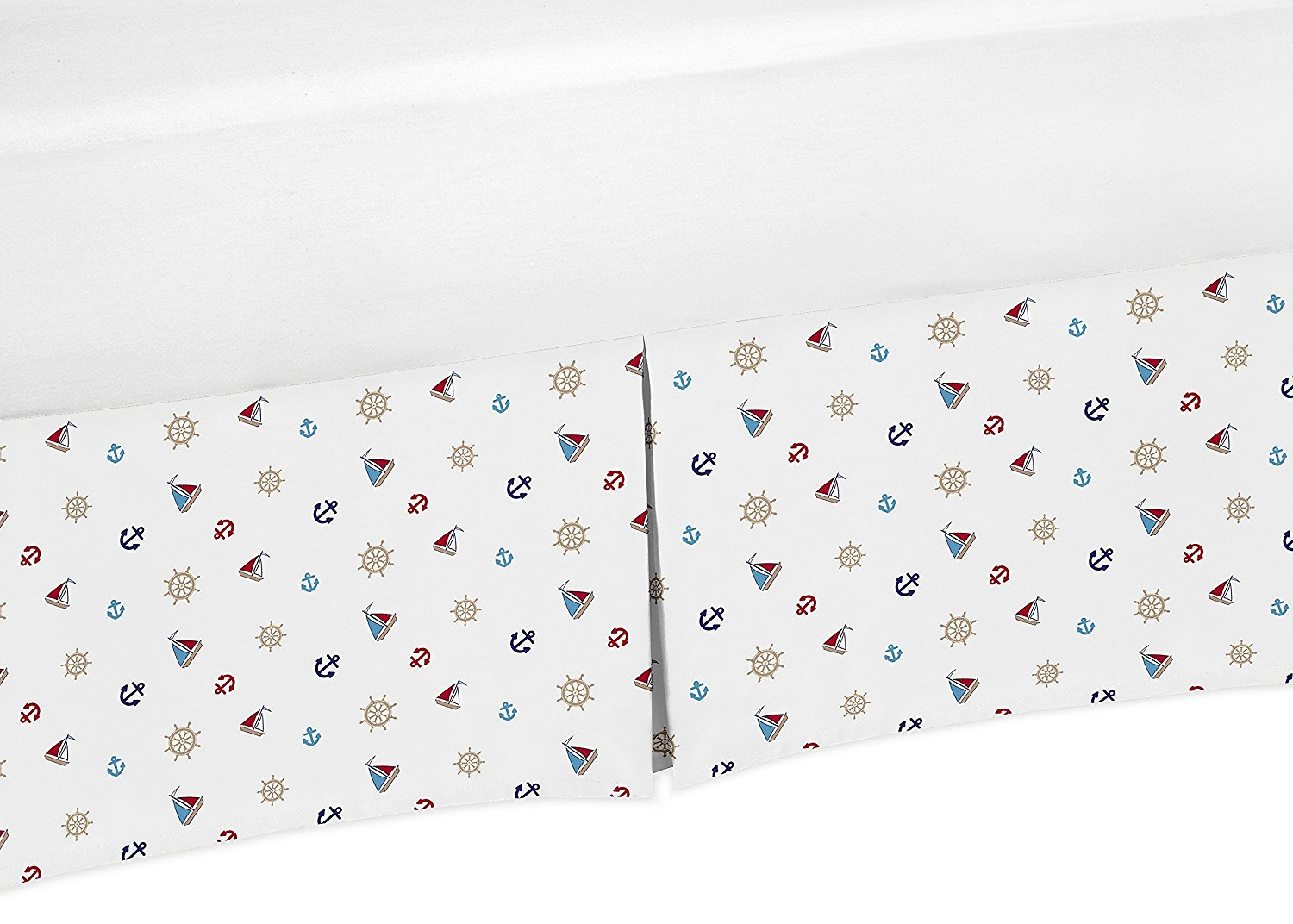 Sailboat Anchors Crib Bedskirt Dust Ruffle for Boys Nautical Collection Baby Bedding Sets by Sweet Jojo Designs