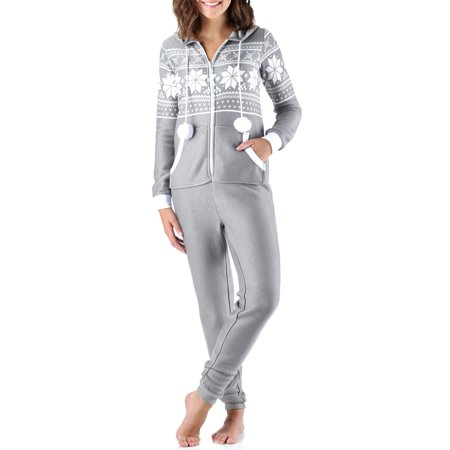 Frankie & Johnny Women's Brushed Fleece Ribbed Non-Footed Onesie Pajama - Next Womens Onesie