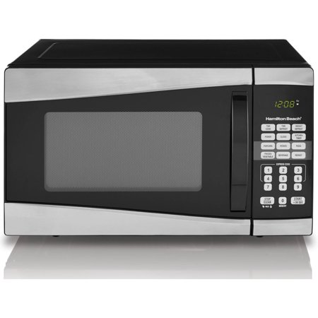 Hamilton Beach 0.9 cu ft 900W Microwave, Stainless Steel Hamilton Beach 0.9 cu ft 900W Microwave, Stainless Steel:0.9 cu ft digital microwave900W microwave output power10 microwave power levels6 quick set menu buttons1-touch cooking features: popcorn, potato, reheat, frozen dinner, beverage and pizza99'99  cooking timer+30 Seconds full power express cookChild-safe lockout feature Digital clockDefrost by weight, Defrost by timeEasy to read LED displayStainless steel front, Black housing and White painted cavity1-year limited warranty Dimensions: 19.1 L x 16 W x 11.5 H