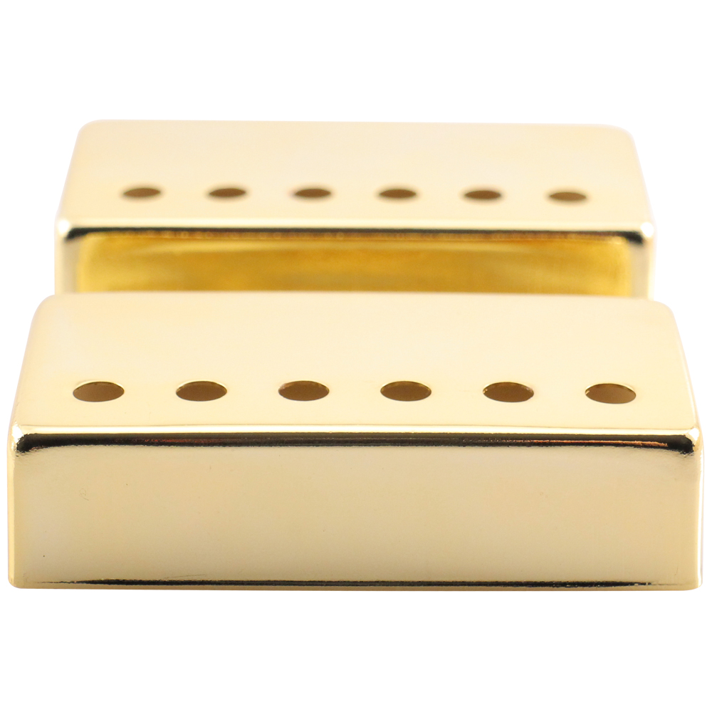 Seismic Audio Pair of Gold Metal Humbucker Covers for Electric Guitars - 52mm Spacing Gold - SAGA08