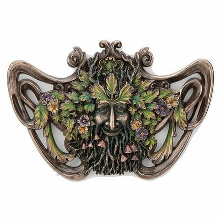 Green Man Spring Mushroom Wall Plaque Myth & Legend. Sculpture Mushroom Wall Plaque
