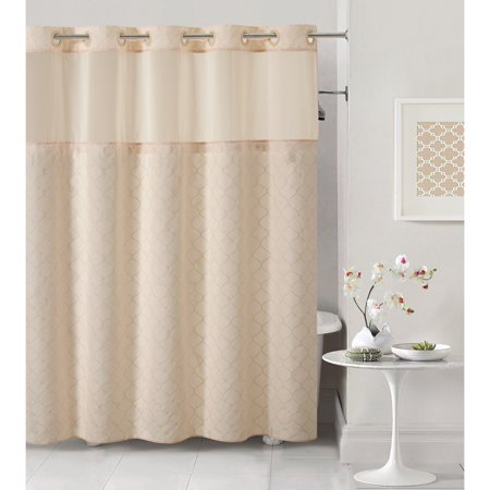 hookless pale pink mosaic polyester shower curtain