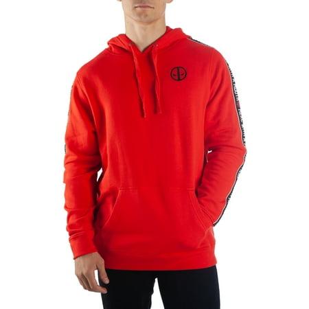 Marvel Comics Deadpool Mens red deadpool hoodie with sleeve stripes