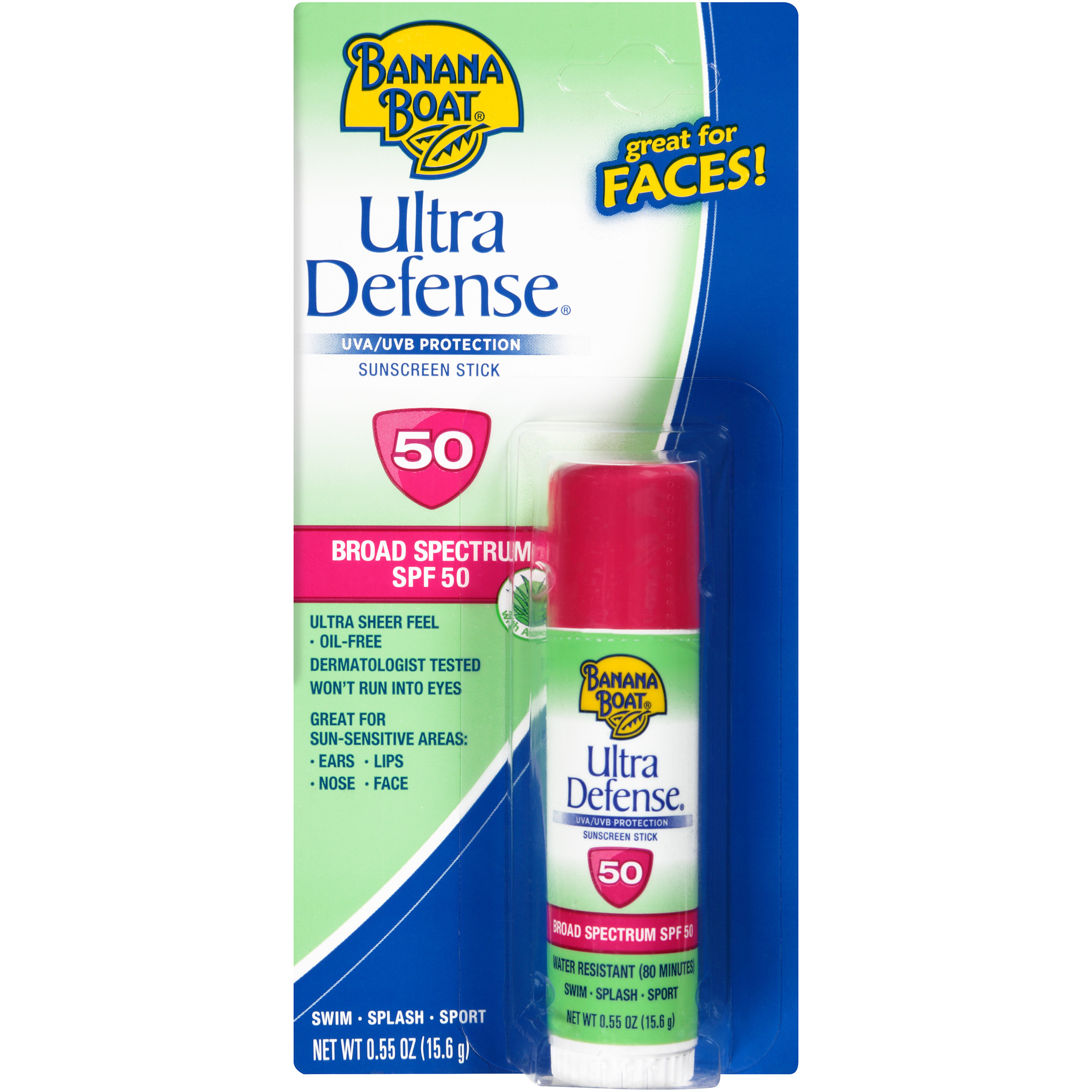 Banana Boat Ultra Defense Face Sunscreen Stick Broad Spectrum SPF 50 - 0.55 Ounces