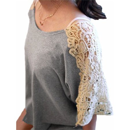 Women Blouses Clearance Lace Crochet Crew Neck Short Sleeve Comfy Tops