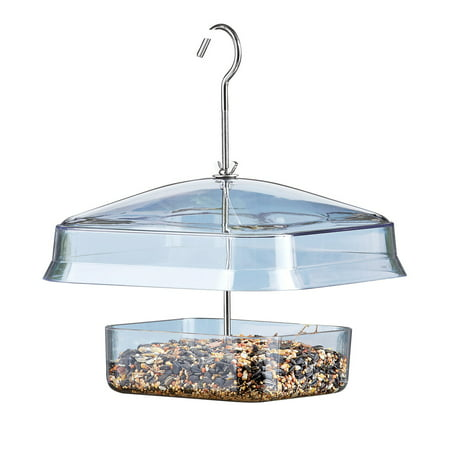 "Image of ""Squirrel Proof Hanging Canopy Bird Feeder, Blue, Clear - Keeps Food Dry w/ Canopy, Discourages Squirrels, Drainage Holes Included, Attached Hook for Easy Hanging - Plastic, Metal - 9"""" x 9"""" x 11""""H"""