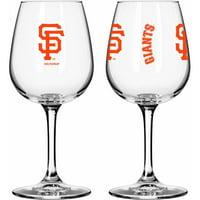 Boelter Brands MLB Set of Two 12 Ounce Wine Glass Set, San Francisco Giants