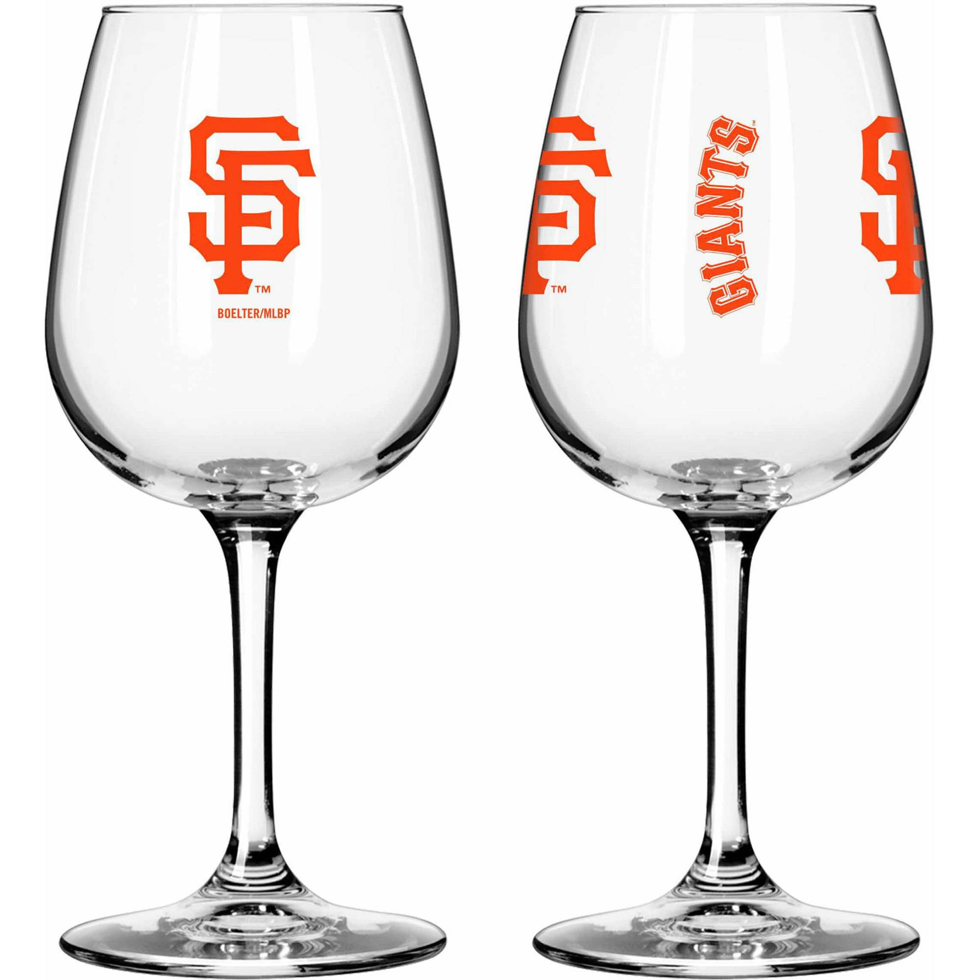 Boelter Brands MLB Set of Two 12 Ounce Wine Glass Set, San Francisco Giants