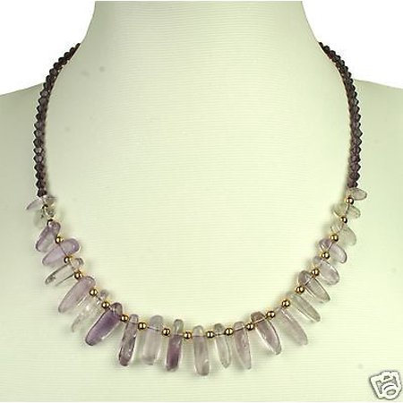 "New 18"" Purple Amethyst Stone Crystal Beads Necklace Women"