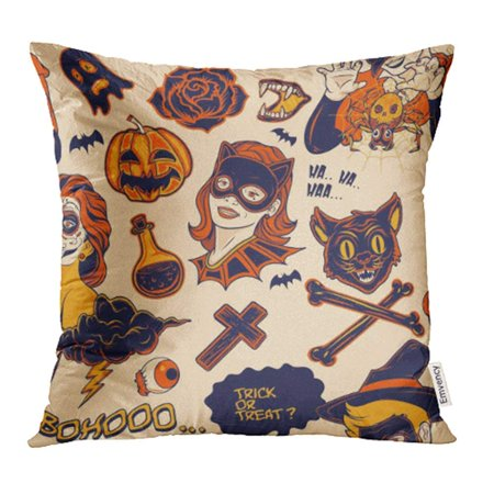 CMFUN Helloween Halloween Cat Mask Bat Candy Cartoon Cemetery Character Pillow Case Pillow Cover 16x16 inch Throw Pillow - Pillowcase Halloween Mask
