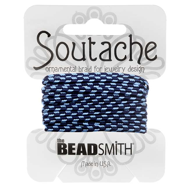 BeadSmith Soutache Braided Cord 3mm Wide - Navy Blue Stripes (3 Yards)