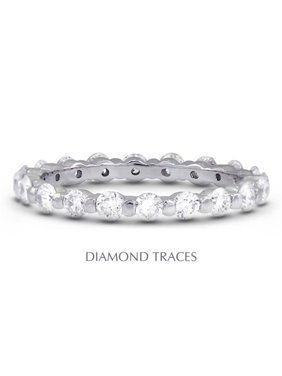 UD-EWB102-6854 14K White Gold Bar Setting 1.91 Carat Total Natural Diamonds Classic Eternity Ring
