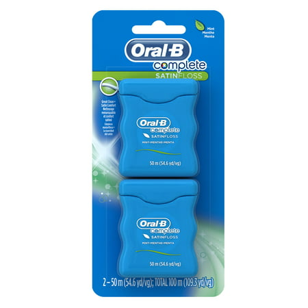 Oral-B Complete SatinFloss Dental Floss, Mint, 54.6 yd, 2 Pack