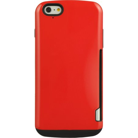Insten Fusion Candy Skin Card Inserted TPU Rubber Gel Shell Case For Apple iPhone 6 / 6s - Red - image 1 de 5