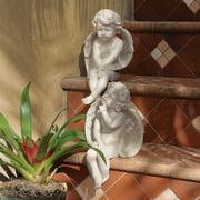 Design Toscano Angel of Meditation Shelf Sitting Statue, 13 Inch, Polyresin, Antique Stone