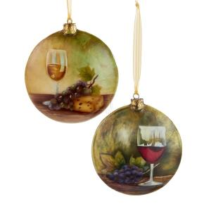 1 Set 2 Assorted 4 Inch Capiz Wine Disc Christmas Ornaments