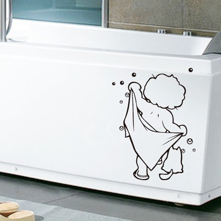 Outtop Bathroom Cute Kids Shower Art Stickers For Tiles Glasses Wall Decal Home
