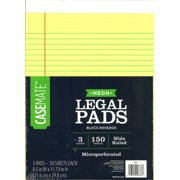 CaseMate neon legal pad, 3 pack
