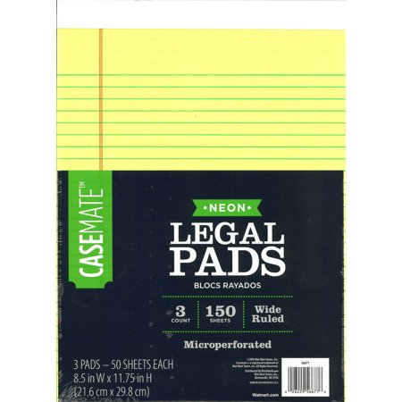 Cambridge Legal Pads - CaseMate neon legal pad, 3 pack