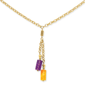 14k Yellow Gold Amethyst and Citrine Drop Necklace 18 Inch Lobster Claw by