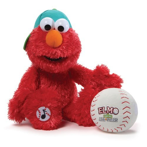 Gund Sesame Street Baseball Player Elmo Animated Stuffed Toy Plush