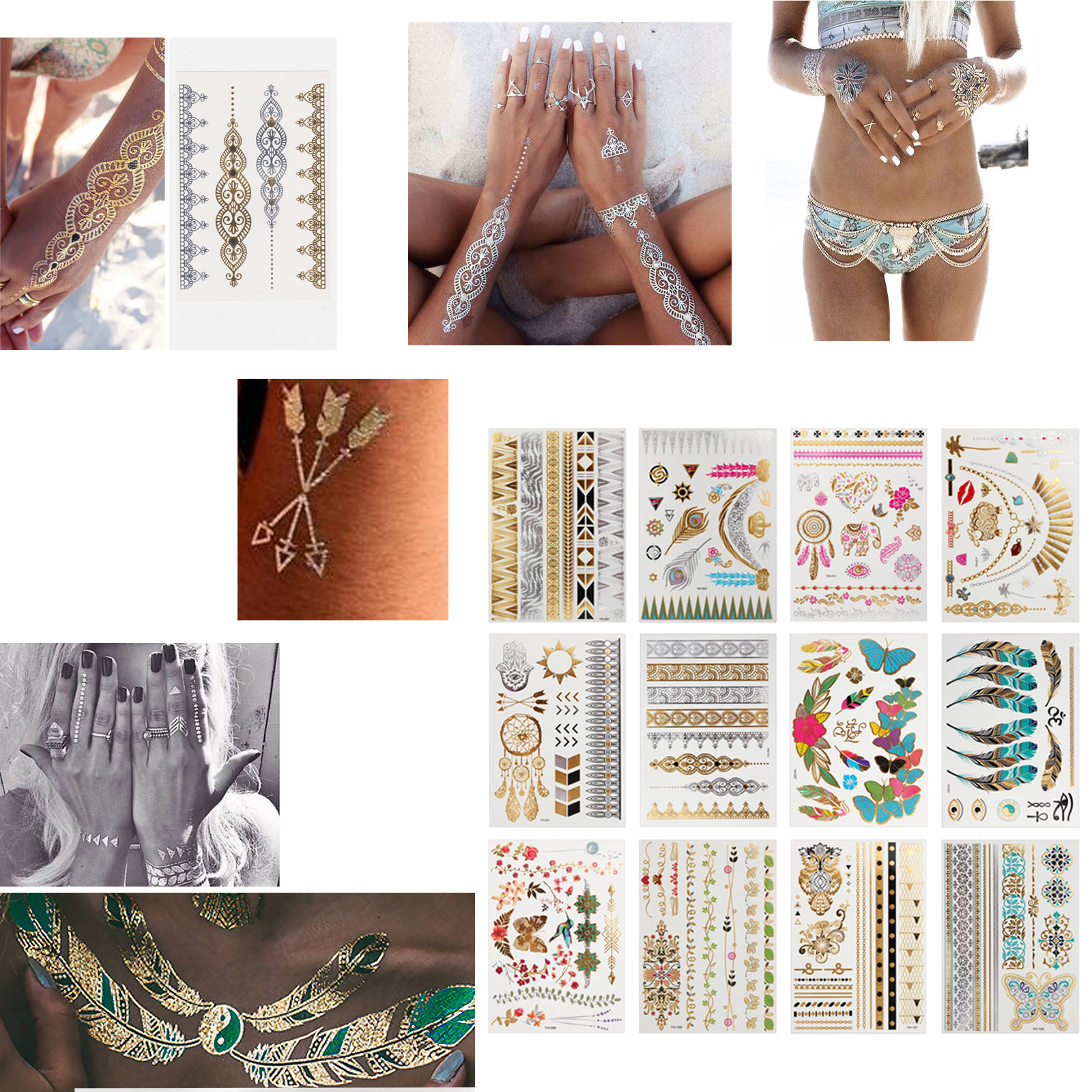 Esynic 12 Sheets Temporary Metallic Flash Tattoos Armbands Necklace