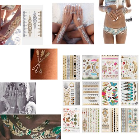 ESYNIC 12 Sheets Temporary Metallic Flash Tattoos Armbands Necklace Designs Women Temporary Tattoo Sleeves Body Art Arm for pool,beach dinner dress music festival party concerts bachelorette