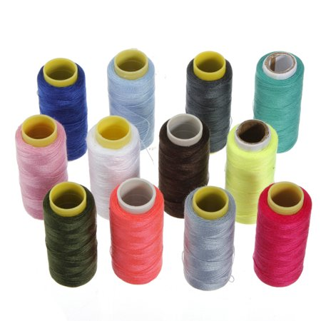 Meigar Polyester Sewing Thread, 24 Assorted Colors Spool 1000 Yards Each for an Exhilarating Sewing Experience Assorted Thread 12 Spools