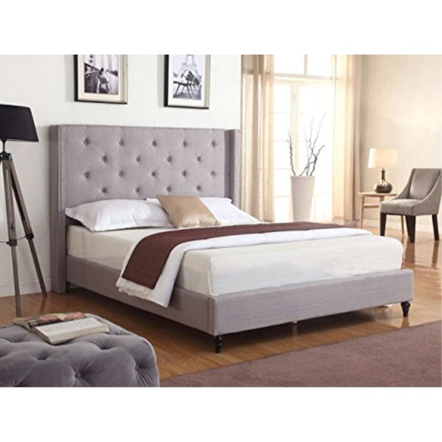 HomeLife Premiere Classics 51 Tall Platform Bed with Cloth Headboard and Slats Light Grey Silver Full