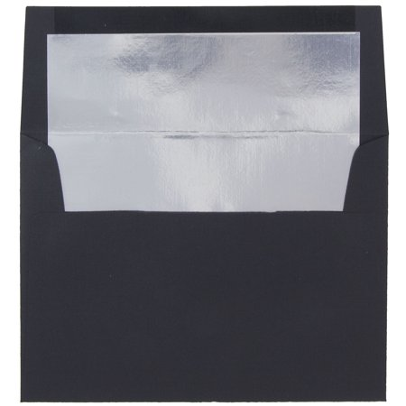 JAM Paper A7 Foil Lined Envelopes, 5 1/4 x 7 1/4, Black Linen with Silver Foil Lining, 50/pack
