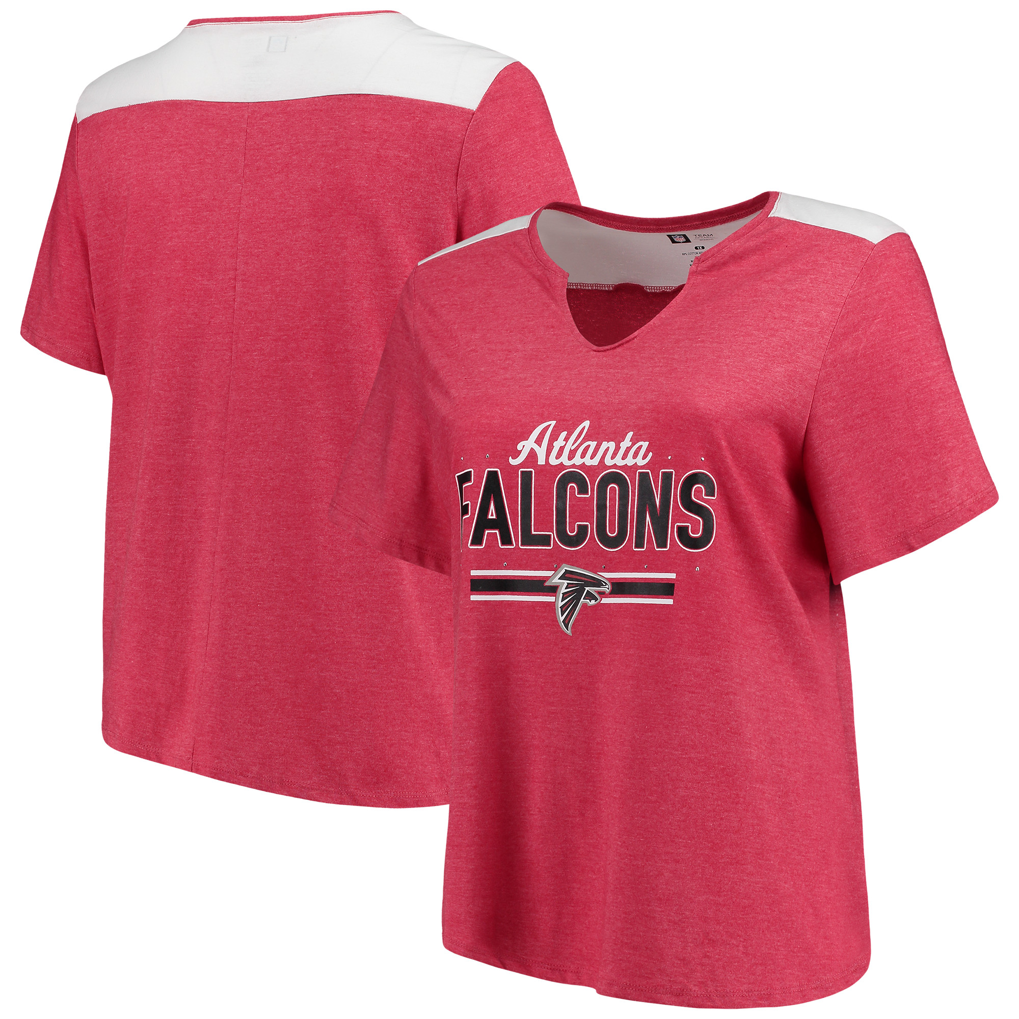 Atlanta Falcons Majestic Women's Notch Neck Plus Size T-Shirt - Heathered Red