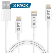 iPhone Charger Lightning Cable, 3 Pack 10FT USB Cable, Compatible with Apple iPhone Xs,Xs Max,XR,X,8,8 Plus,7,7 Plus,6S,6S Plus,iPad Air,Mini,iPod Touch,Case Fast Charging Cord