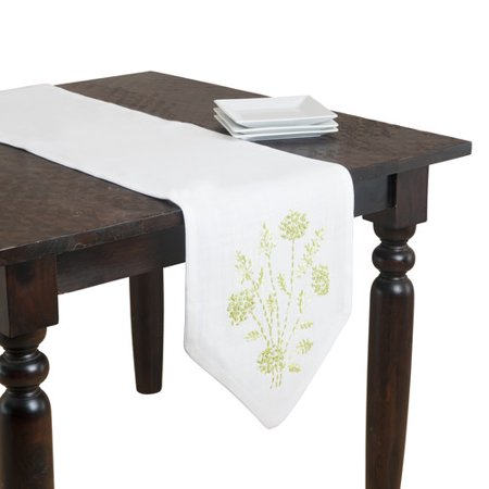 Saro jardin botanique embroidered runner for Table jardin beauty