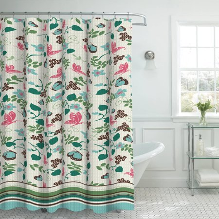 Bounce Comfort Oxford Weave Textured 13 Piece Shower Curtain Set With Metal Roller Hooks  Fly Away Aqua