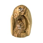 Christmas Nativity Carved from single piece of Olive Wood with a cave-like appearance