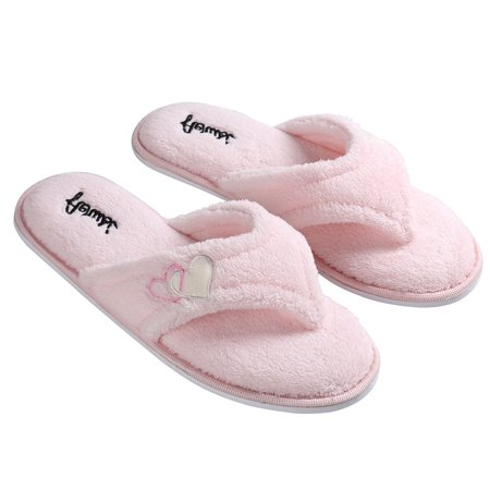 Sumaclife Women'S Cozy Heart Soft Plush Thong Slippers With No-Slip Rubber Sole ()