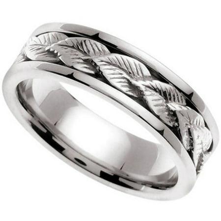 Handmade Leaf Ring 14k White Gold Band (6MM)
