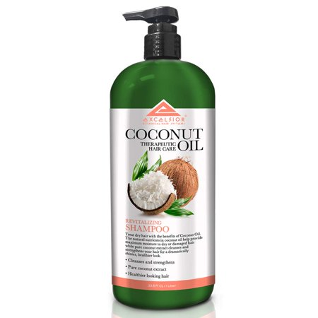 Excelsior Coconut Oil Therapeutic Hair Care Shampoo, Tones, Cleanses & Conditions Hair, Adds Luster & Healthy Shine, Revitalizes & Moisturizes, Prevents Against Breakage & Split Ends 33.8 oz (Best Shampoo To Prevent Breakage)