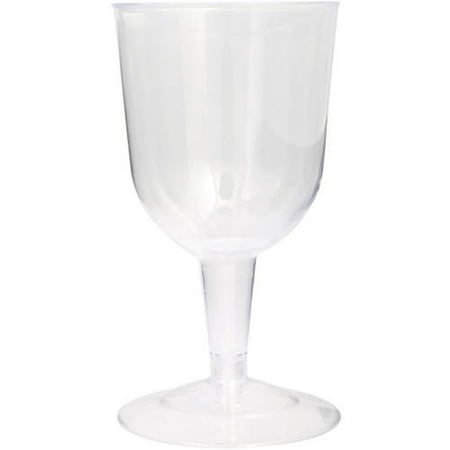 Unique Industries Disposable Plastic Wine Glasses, 5.5 oz, Clear, 8ct