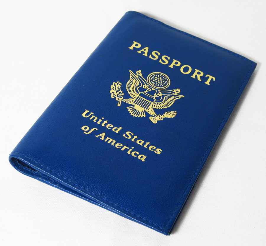 Marshal 1 Travel Leather Passport Organizer Holder Card Case Protector Cover Wallet Blue
